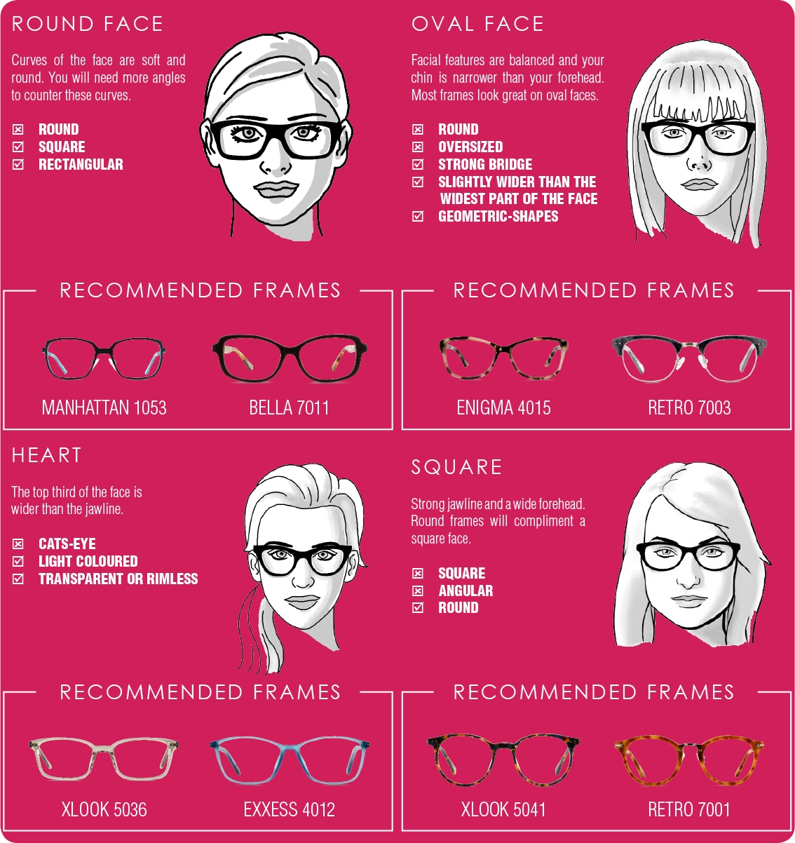 Frames to suit your face shape